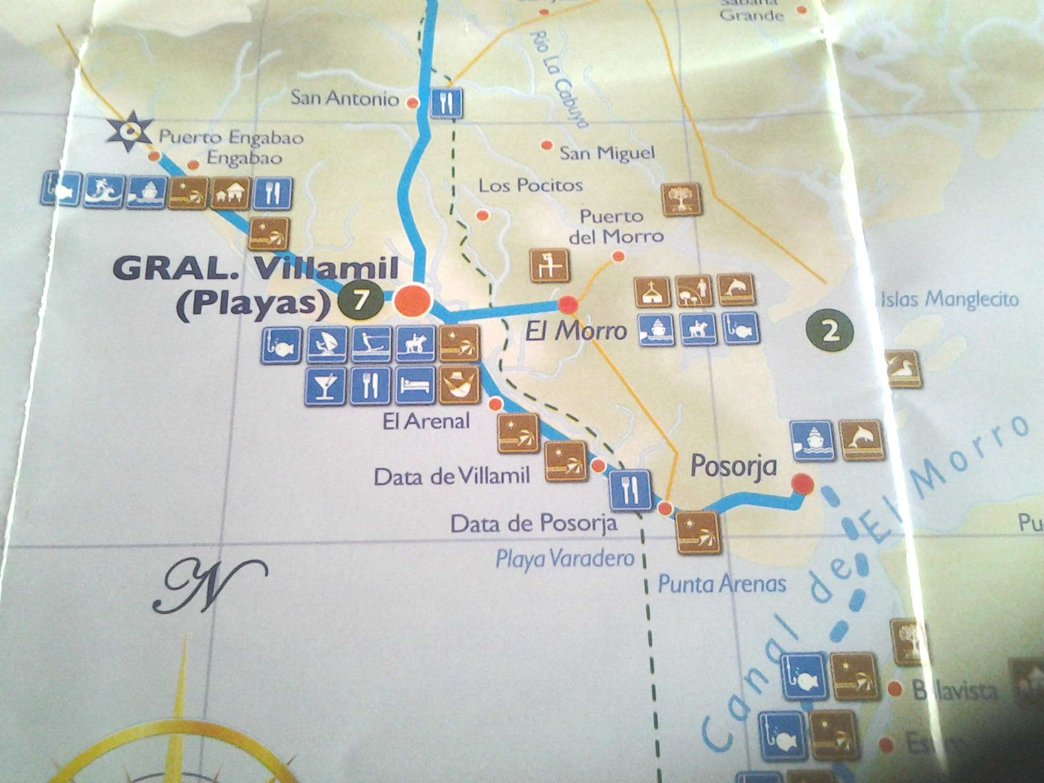 Map of coastal options just west of the city of Guayaquil.